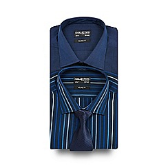 The Collection - Big and tall pack of two white and blue striped tailored shirts with tie