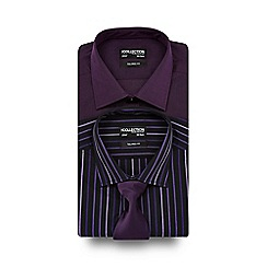 The Collection - Big and tall pack of two white and purple striped tailored shirts with tie.