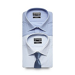 The Collection - Big and tall pack of two light blue striped long sleeved shirts with tie