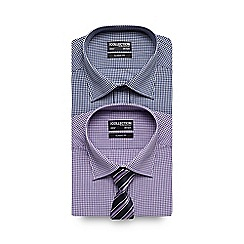 The Collection - Big and tall pack of two lilac gingham checked long sleeved shirts with tie
