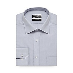 The Collection - Big and tall light grey fine striped regular fit shirt