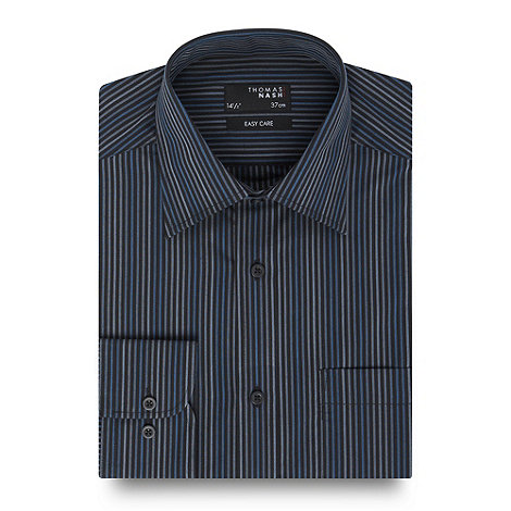 Thomas Nash - Big and tall blue striped long sleeve shirt