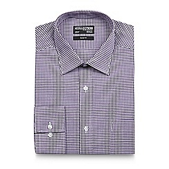 The Collection - Big and tall dark purple gingham slim shirt