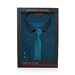 Red Herring - Turquoise slim fit shirt and camo tie set in a gift box