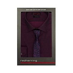 Red Herring - Purple slim fit shirt and camo tie set in a gift box