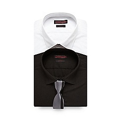 Red Herring - Pack of two black slim fit shirts with tie