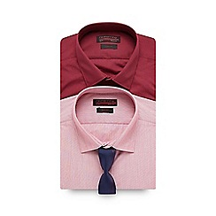 Red Herring - Pack of two maroon striped slim fit shirts with tie in a gift box