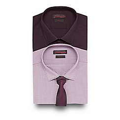 Red Herring - Big and tall pack of two dark red slim fit shirts in a gift box