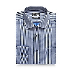 The Collection - Big and tall navy herringbone striped shirt