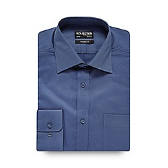 The Collection - Dark blue plain twill tailored shirt