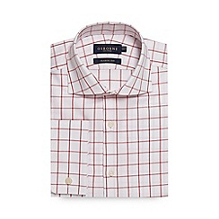 Osborne - Big and tall red windowpane checked regular fit shirt