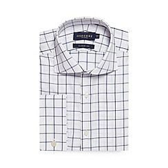 Osborne - Big and tall navy windowpane checked regular fit shirt