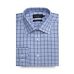 Osborne - Big and tall blue zig zag checked tailored shirt
