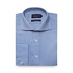 Osborne - Big and tall blue herringbone tailored shirt