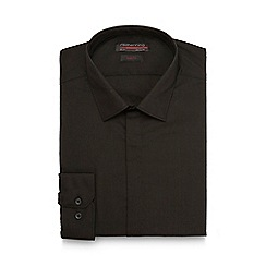 Red Herring - Big and tall black plain slim shirt