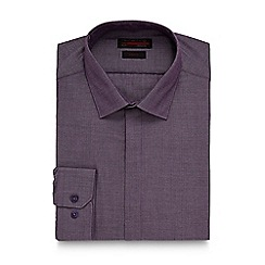 Red Herring - Big and tall dark purple herringbone slim shirt
