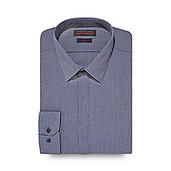 Red Herring - Big and tall dark blue fine striped and spotted slim shirt