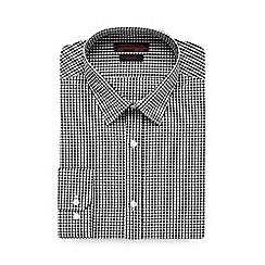 Red Herring - Big and tall black gingham checked slim fit shirt