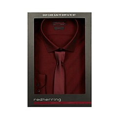 Red Herring - Dark red slim fit shirt and tie set in a gift box