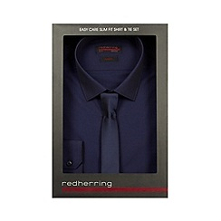 Red Herring - Big and tall dark blue slim fit shirt and tie set