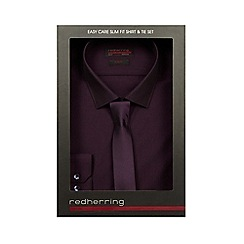 Red Herring - Purple slim fit shirt and tie set in a gift box