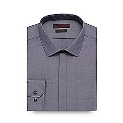 Red Herring - Dark blue herringbone slim fit shirt