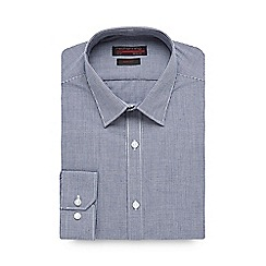 Red Herring - Big and tall navy mini gingham checked slim fit shirt
