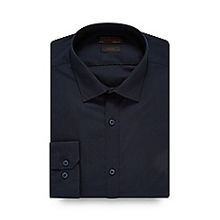 Red Herring - Navy plain slim poplin shirt
