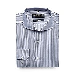 Hammond & Co. by Patrick Grant - Big and tall navy twin striped slim shirt