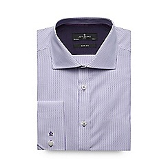Jeff Banks - Lilac zig zag striped slim shirt