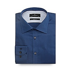 Jeff Banks - Big and tall blue diamond textured slim shirt