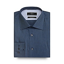 Jeff Banks - Big and tall navy textured check tailored shirt