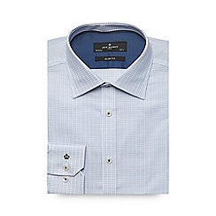 Jeff Banks - Big and tall pale blue textured check slim shirt