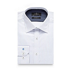 Jeff Banks - Big and tall blue herringbone striped tailored shirt