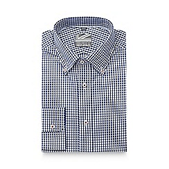 Jeff Banks - Big and tall blue gingham checked slim fit shirt