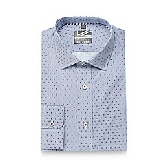 Jeff Banks - Big and tall blue mini floral striped slim fit shirt