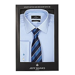 Jeff Banks - Blue print shirt and tie set in a gift box