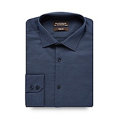 St George by Duffer - Dark blue textured slim fit shirt