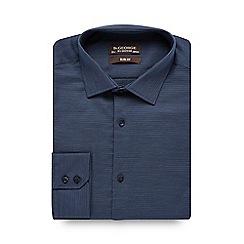 St George by Duffer - Big and tall dark blue textured slim fit shirt