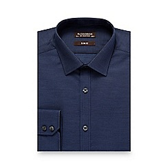 St George by Duffer - Navy diamond textured slim shirt
