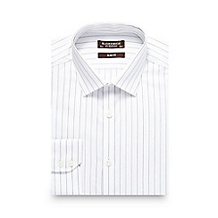 St George by Duffer - Big and tall white sateen striped slim shirt