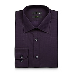 J by Jasper Conran - Big and tall dark purple herringbone tailored shirt