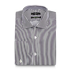 J by Jasper Conran - Big and tall dark purple butchers striped tailored shirt