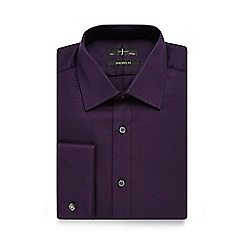 J by Jasper Conran - Big and tall dark purple heavy twill tailored shirt