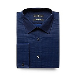 J by Jasper Conran - Big and tall navy two-tone herringbone tailored shirt