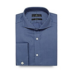 J by Jasper Conran - Big and tall dark blue textured twill slim shirt