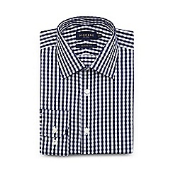 Osborne - Big and tall navy gingham extra long regular shirt