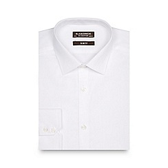 St George by Duffer - Big and tall white herringbone striped extra long slim shirt