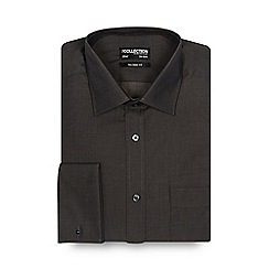 The Collection - Dark grey tonic plain tailored shirt