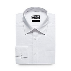 The Collection - Big and tall white self striped tailored fit shirt